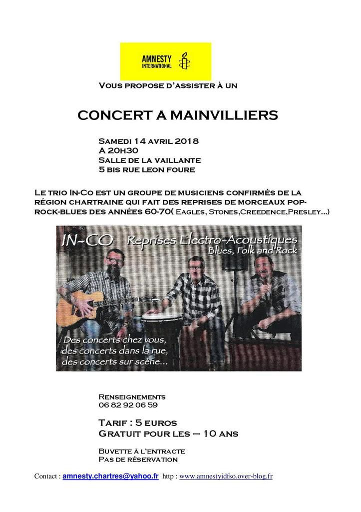 Mainvilliers, 14 avril, concert avec Amnesty