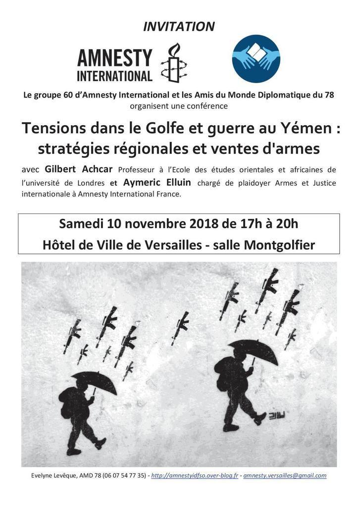 """Versaille, 10 novembre, conférence """"Conflits du Golfe et Ventes d'armes"""""""