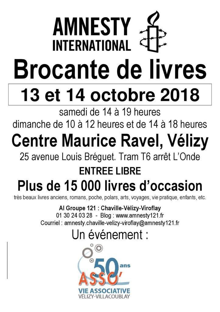 Vélizy, 13 et 14 octobre, La Grande Brocante de Livres d'Amnesty