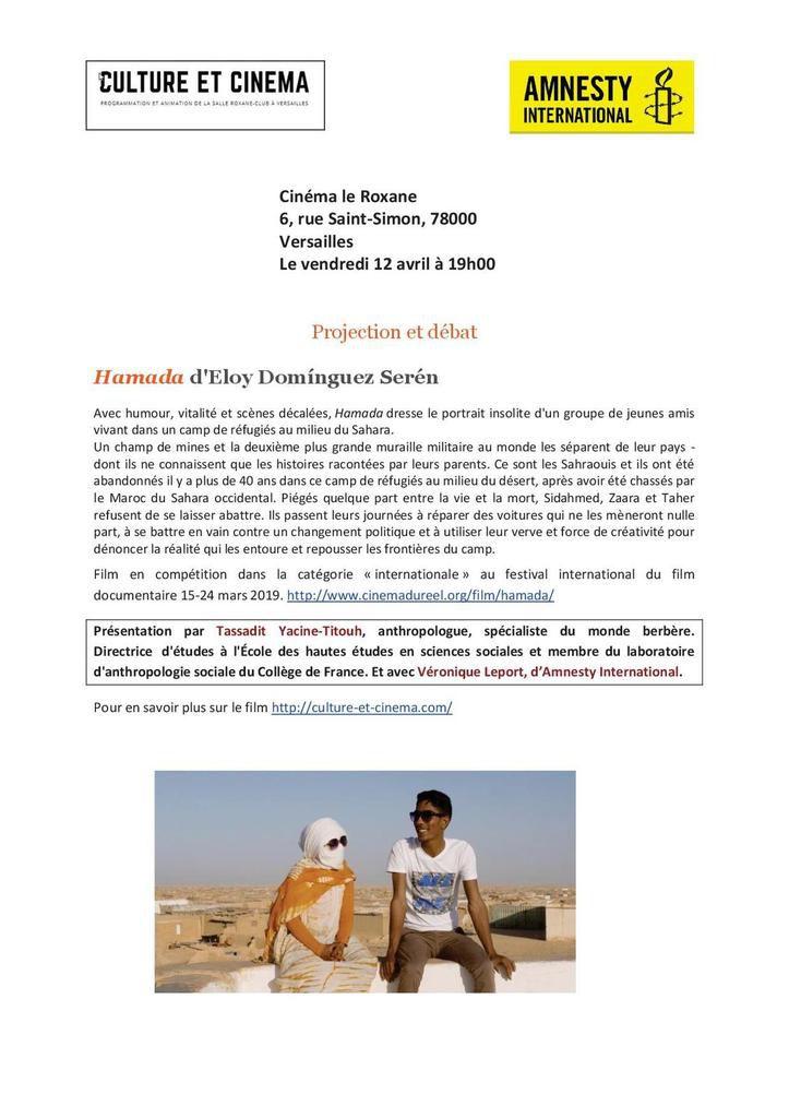 """Versailles, 12 avril 19h, ciné-débat """"Hamada"""" avec Amnesty"""