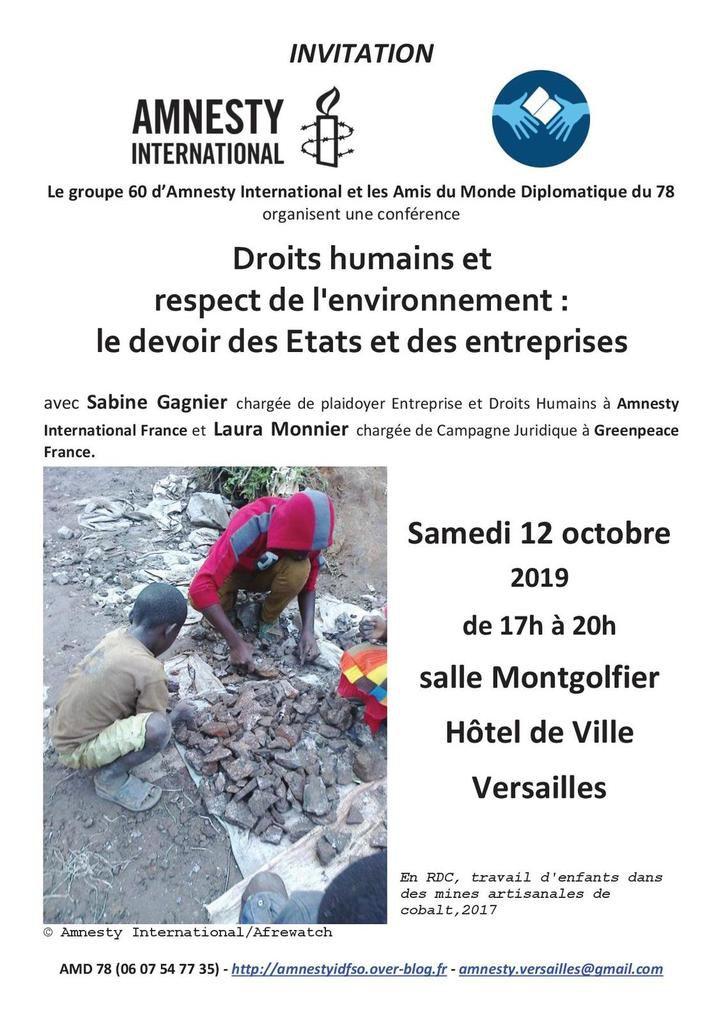 Versailles, 12 octobre, conférence Droits humains et respect de l'environnement