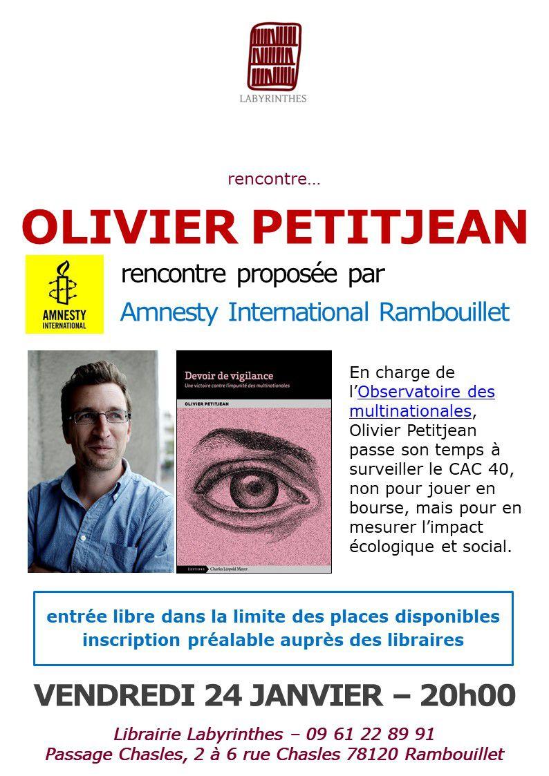 """Rambouillet, 24 janvier, Rencontre littéraire """"Devoir de Vigilance"""" de Olivier Petitjean"""