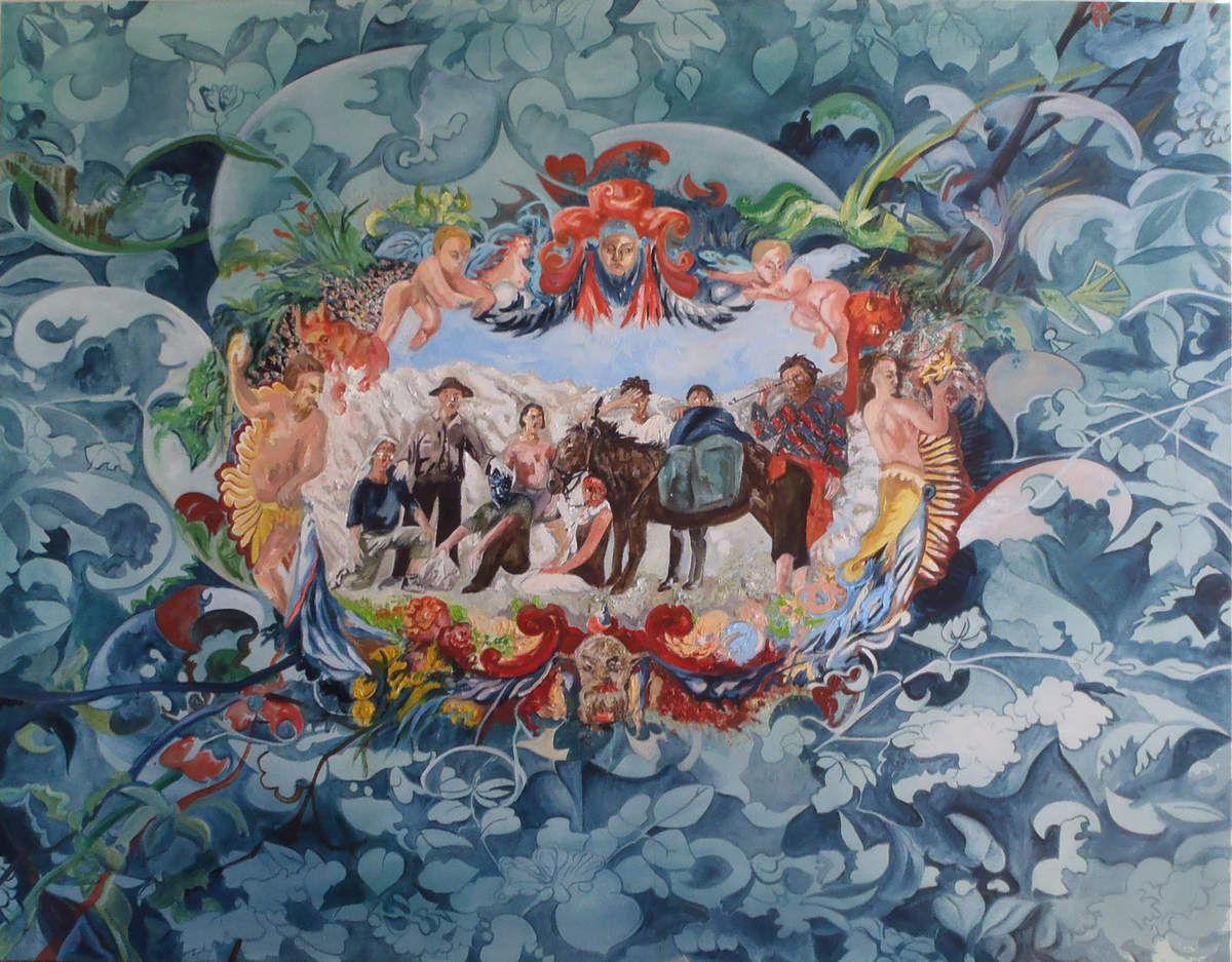Médaillon pour une tapisserie - 130 x 160 cm - huile sur toile - 2013