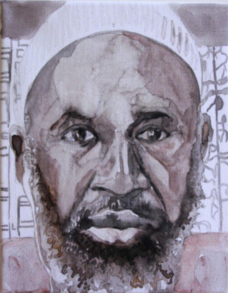 Encre sur toile, 19 x 24 cm - à droite le portrait choisi par le modèle