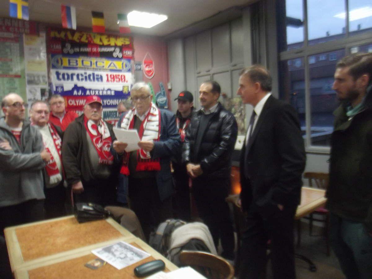 Accueil de la délégation, de gauche à droite Christian, Faruk, le Président ZDZIECH, et Baptiste Aloë