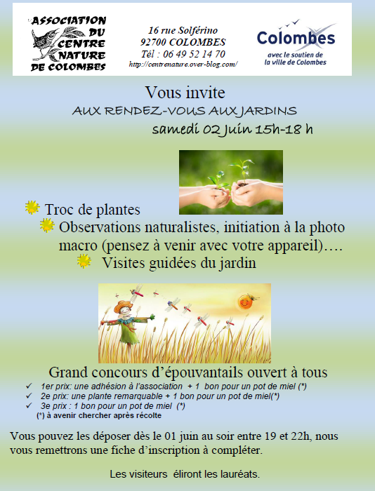 Du 1er au 3 juin : les rendez-vous aux jardins 2018 au Centre Nature !