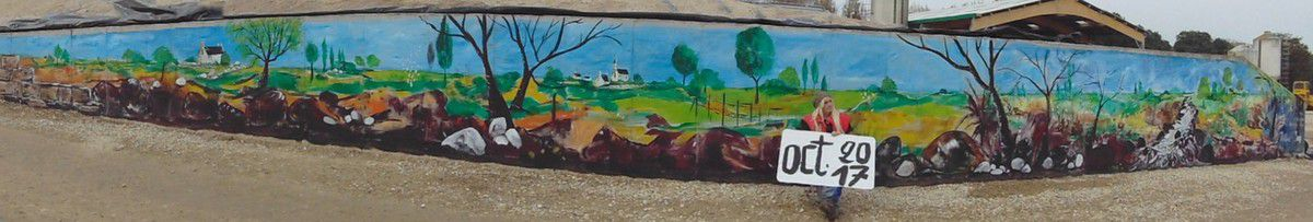 """fresque visible au manoir """"ferme du Miroir"""" à St Méloir des bois"""