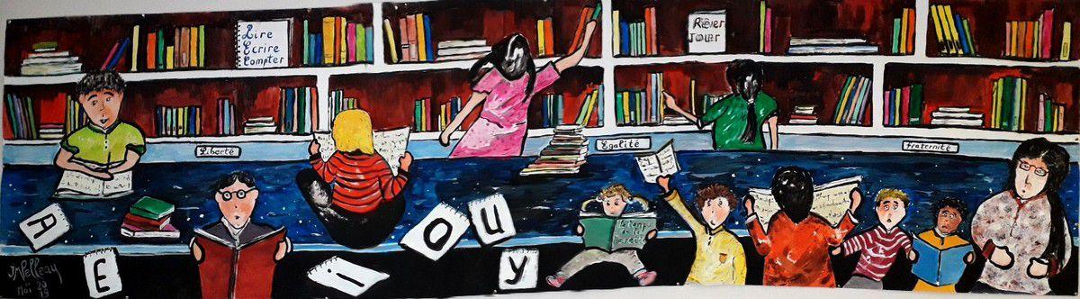 """Fresque à la bibliothèque de Jugon les Lacs pour partager avec les enfants sur """"les représentations"""" ..lire, écrire, compter..rêver, jouer...liberté, égalité, fraternité.."""