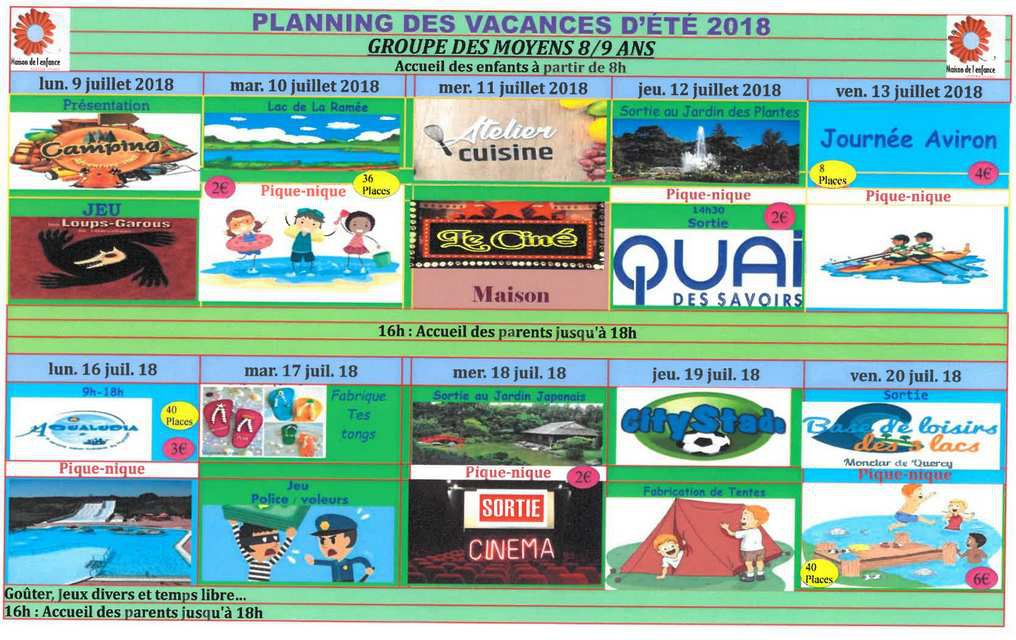 Planning des 8/9 ans juillet