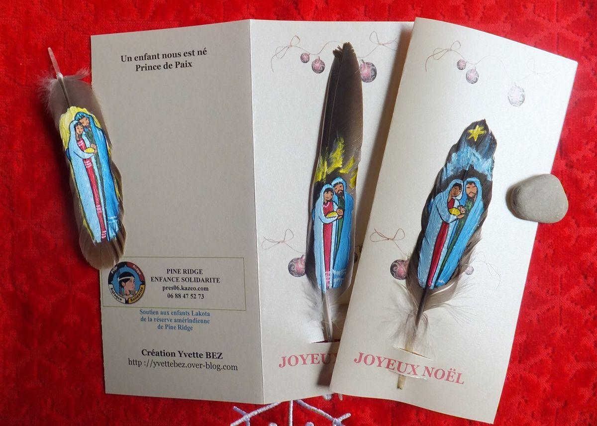 Cartes-plume Marie, Noël, Bonne Année....et Licorne ! Tarif spécial