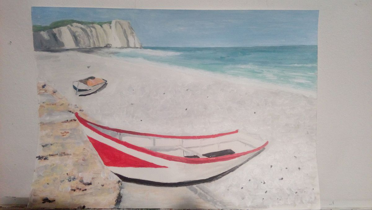 Cours de peinture acrylique du jeudi et vendredi, la plage d'Etretat vue par les participants confirmés