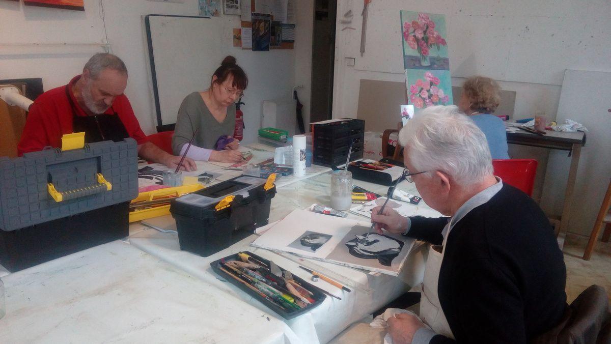 Les cours de peinture acrylique des jeudis du mois de mars!