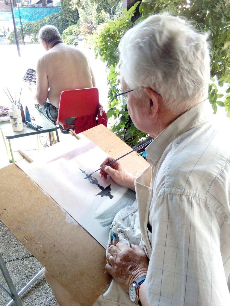 Cours de peinture acrylique avec Fabienne le 22 juin, jour de canicule!