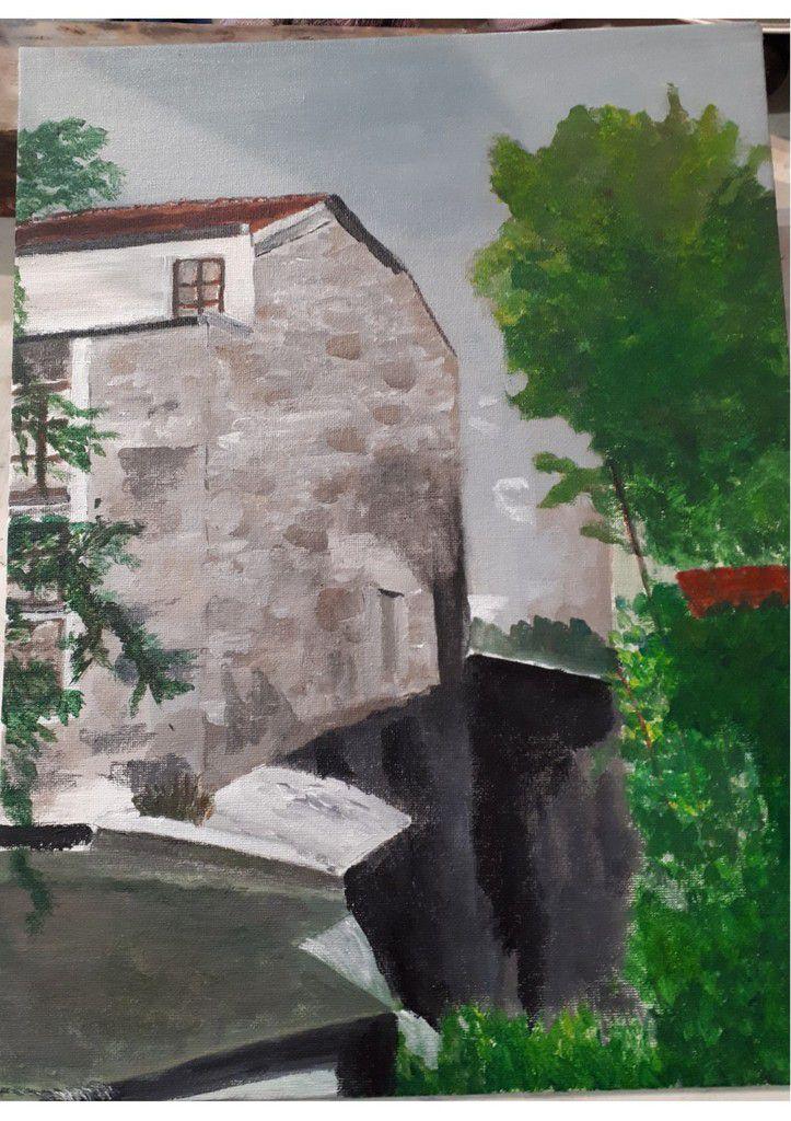Cours de peinture acrylique du jeudi avec Fabienne à l'extérieur