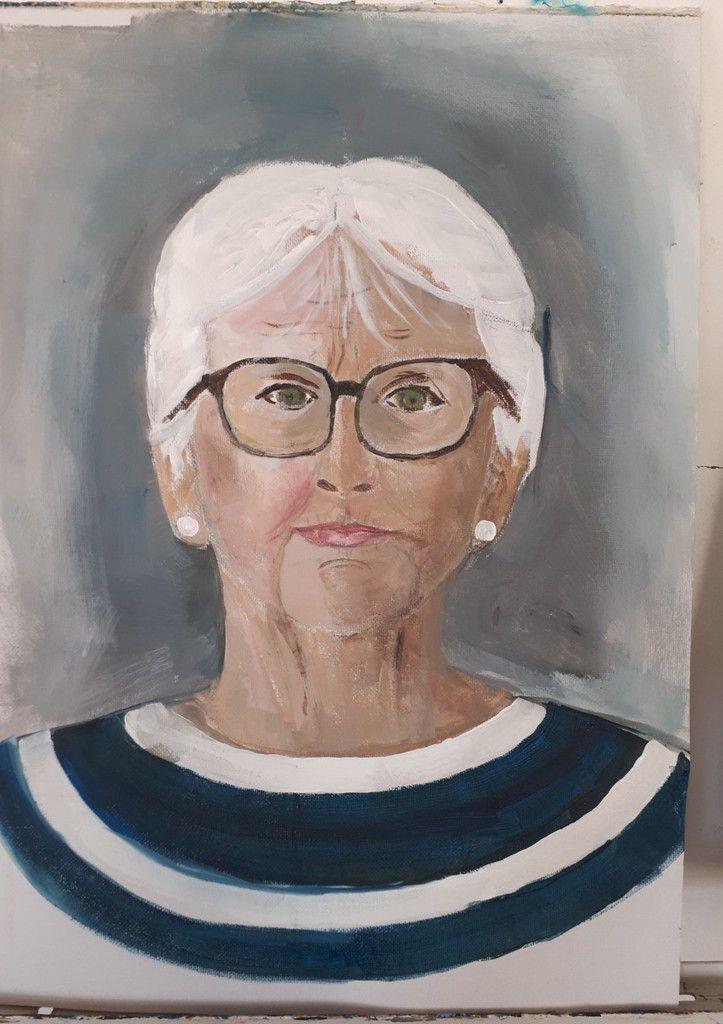 Cours de peinture acrylique du jeudi : portraits et autoportraits au mois de mai
