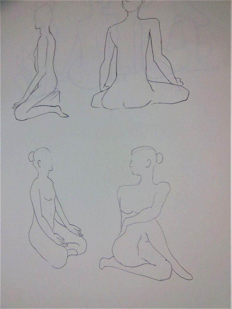 Poses yoga à l'atelier dessin