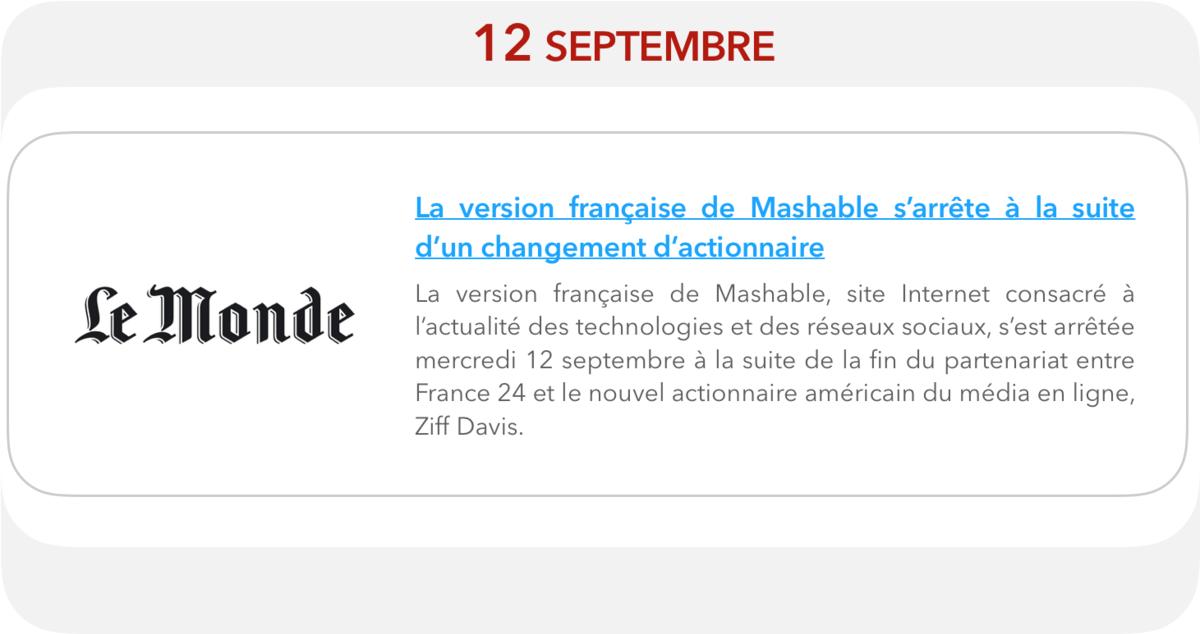 Le Monde - La version française de Mashable s'arrête à la suite d'un changement d'actionnaire