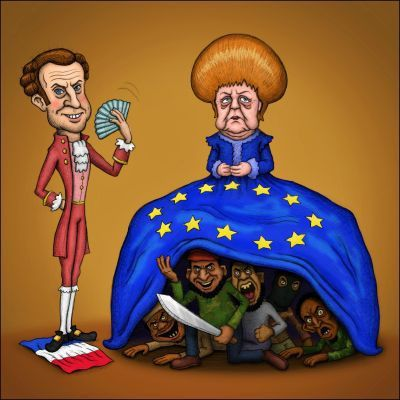 Image result for emmanuel macron merkel cartoon