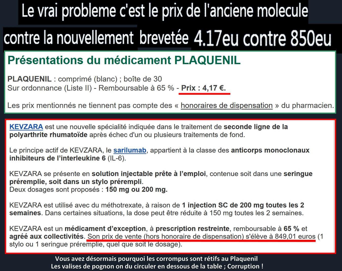 Coronavirus : Le Plaquenil préconisé par le professeur Raoult revient à 4 € alors que le Kevzara de Big Pharma coûte 850 €, donc ça coince