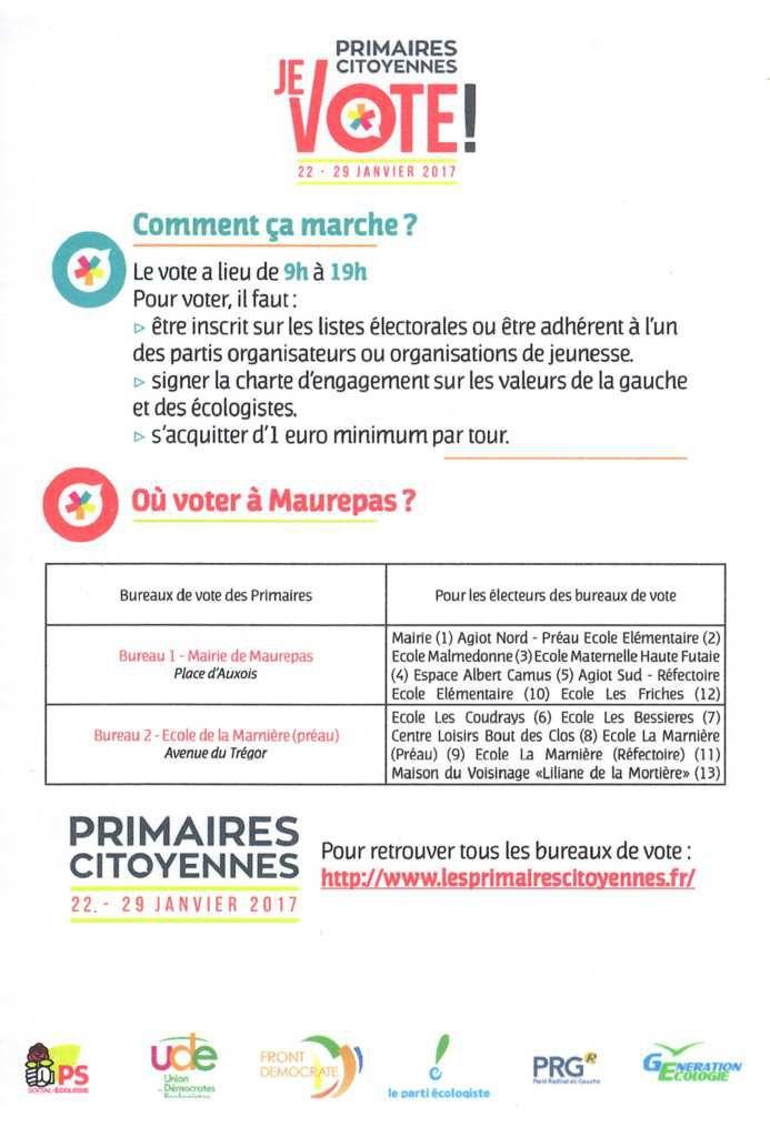 Primaires citoyennes: Où voter à Maurepas ?