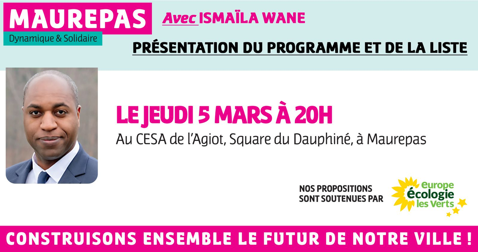 5 mars 2020, présentation du programme et de la liste