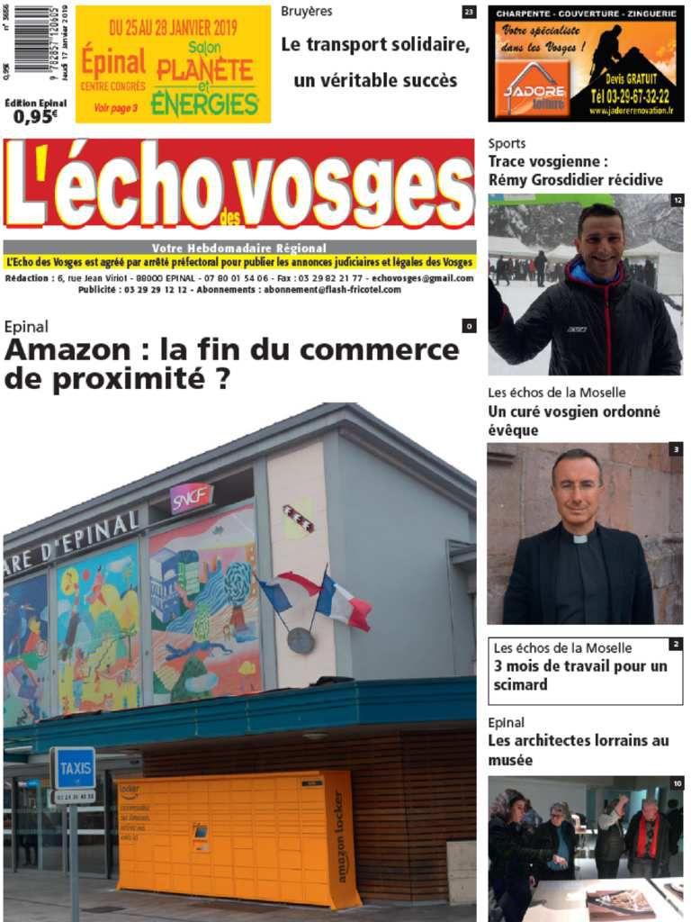 La Une de l'édition d'Epinal du 18 janvier 2019