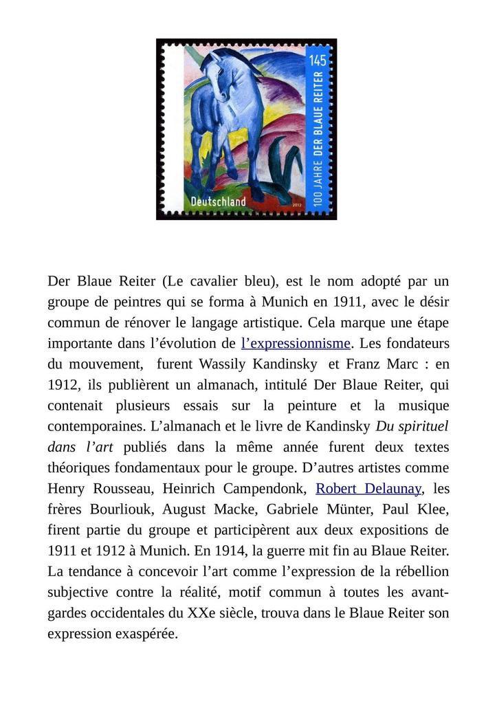 """Mouvement de peinture :  """"Le cavalier Bleu"""""""