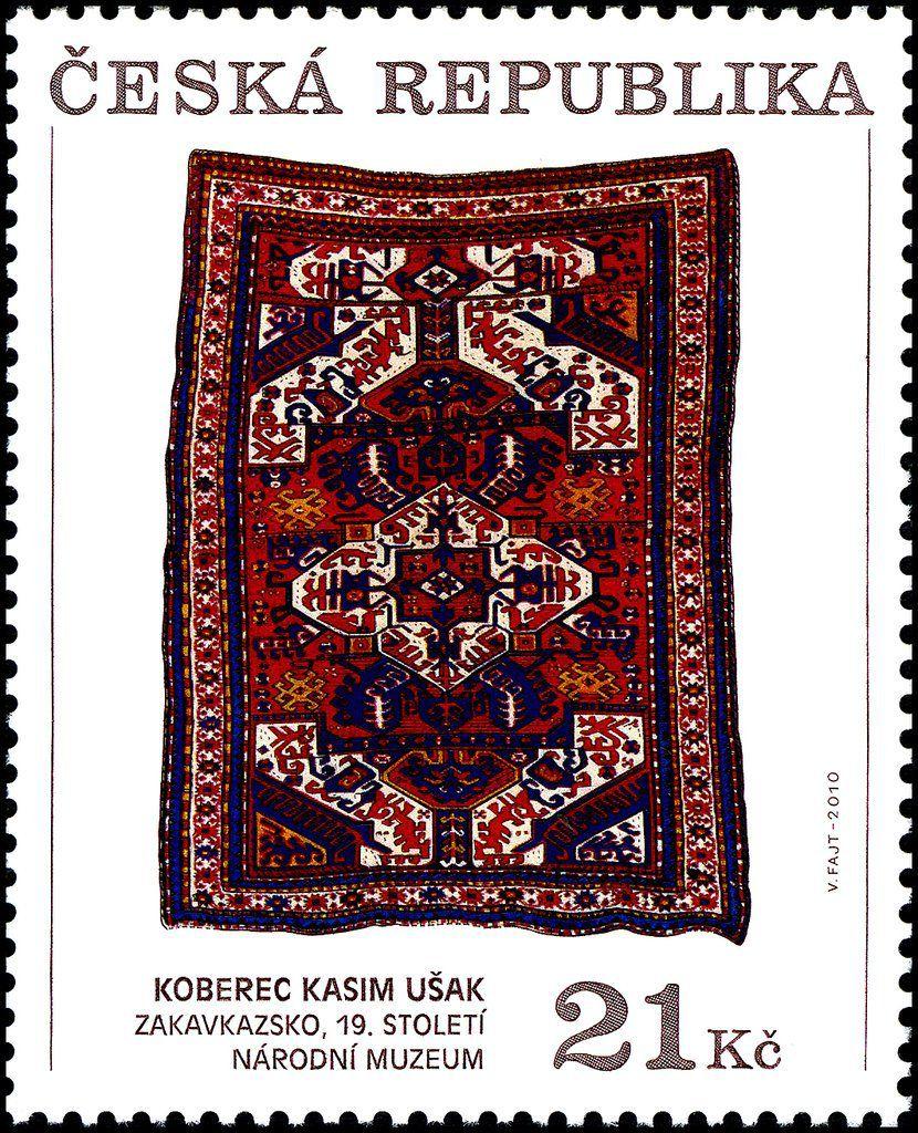 """Cette série, conçue et gravée par Václav Fajt, montre des tapis en laine du 19ème siècle, caractéristiques de la région du Karabagh (entre l'Arménie et l'Azerbaïdjan). Le tapis """"Kasim ushag"""" reproduit sur ce timbre est conservé au musée Náprstek de Prague, consacré aux cultures d'Asie, d'Afrique et d'Amérique"""