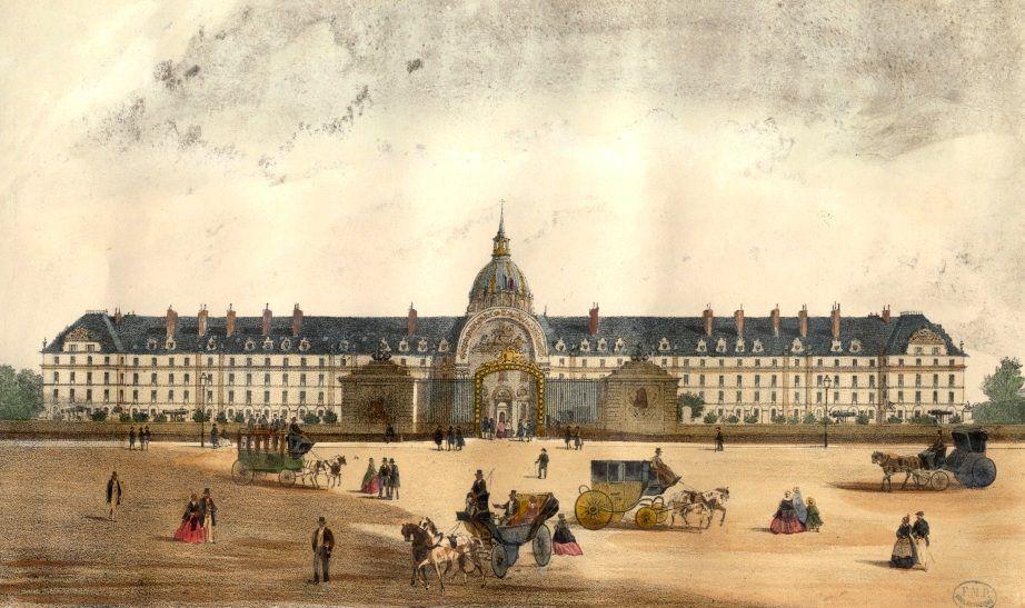 Édifié en 1670 à l'initiative de Louis XIV, l'Hôtel des Invalides est construit sur la plaine de Grenelle, pour accueillir 4000 invalides de guerre. La construction durera plus de cinq ans, selon les plans dessinés par l'architecte Libéral Bruant (1636-1697) . Un dôme sera ajouté en 1706 par L'architecte Jules Hardouin Mansart (1646-1708) édifia l'église des soldats et l'église du Dôme.