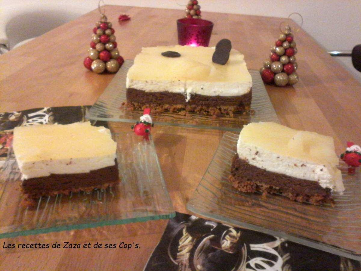 Bavarois poire chocolat sur lit de spéculoos