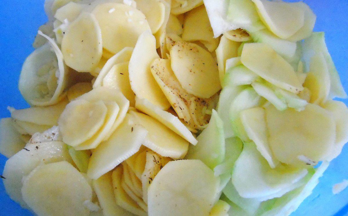 Gratin courgette / pommes de terre au coulis de tomate