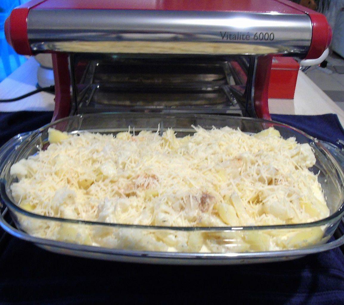 Gratin tout simple de chou fleur et pommes de terre réalisé à L'Omnicuiseur Vitalité 6000