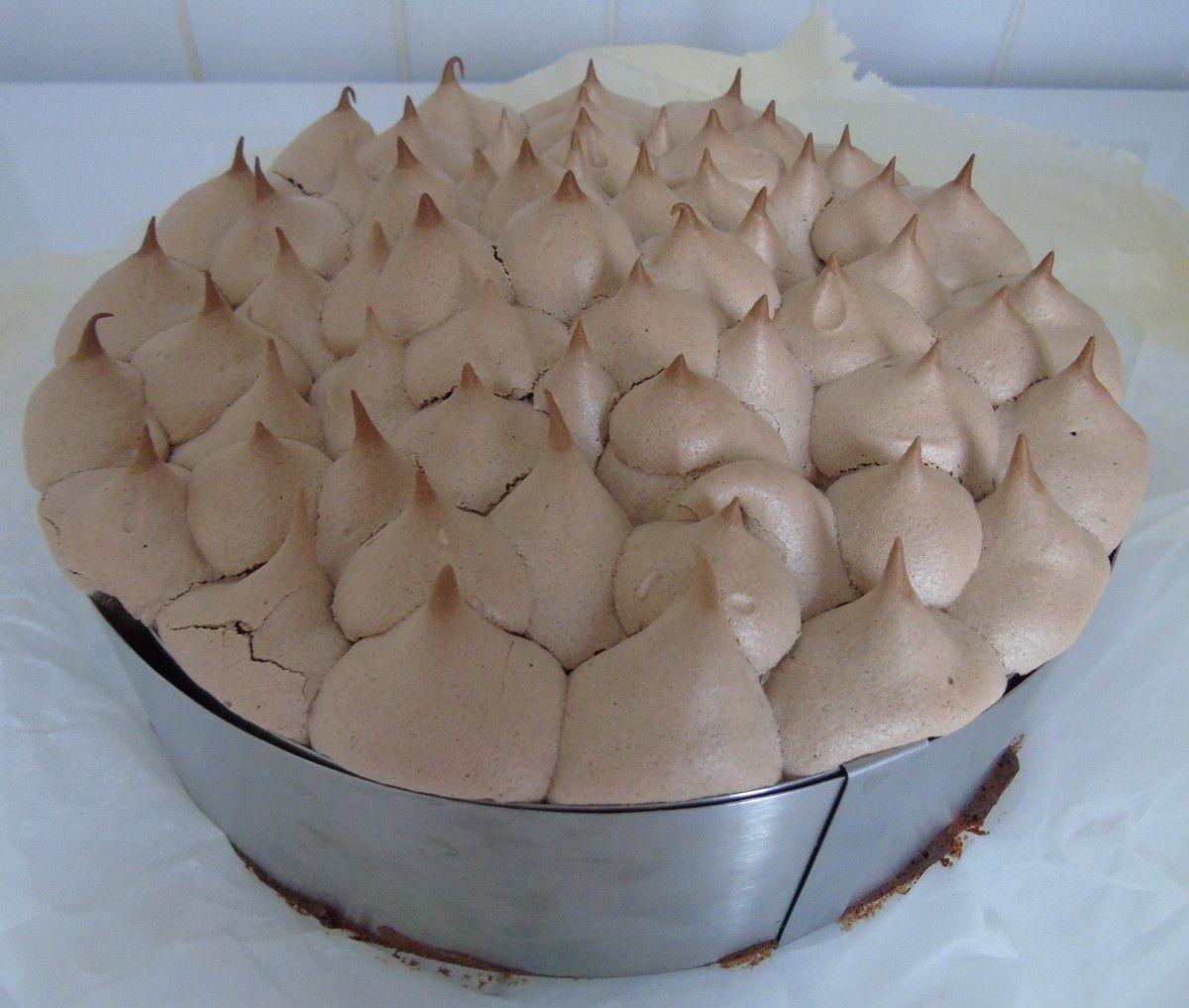 Gâteau de folie au chocolat meringué
