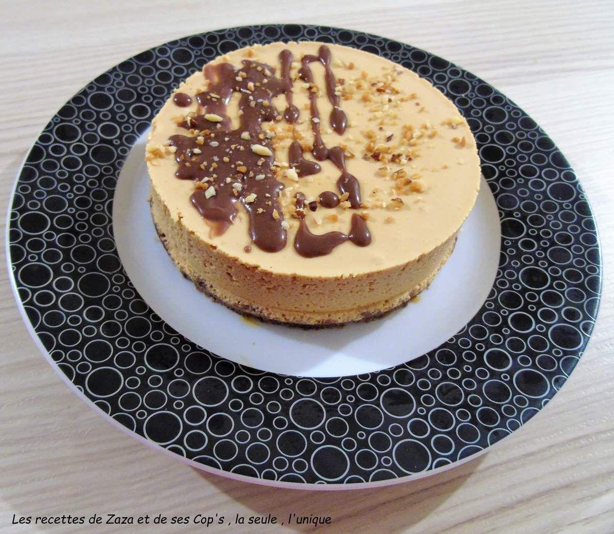 Cheesecake sans cuisson caramel ,noisettes et chocolat