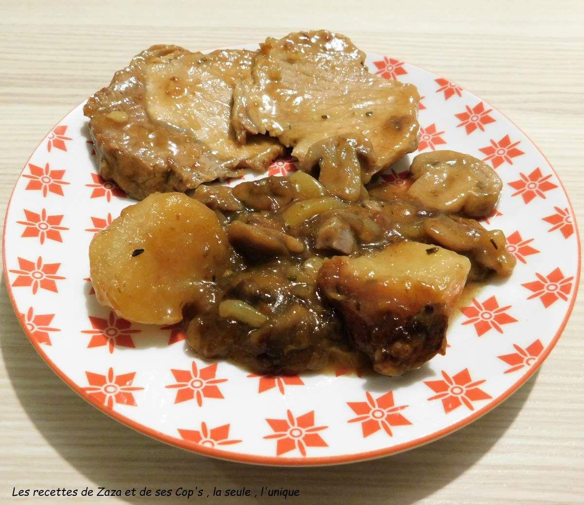Rôti de porc champignons et pommes de terre au Cookéo