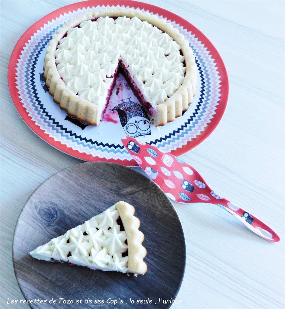 Tarte à la framboise et sa ganache montée au chocolat blanc vanillée sur biscuit financier