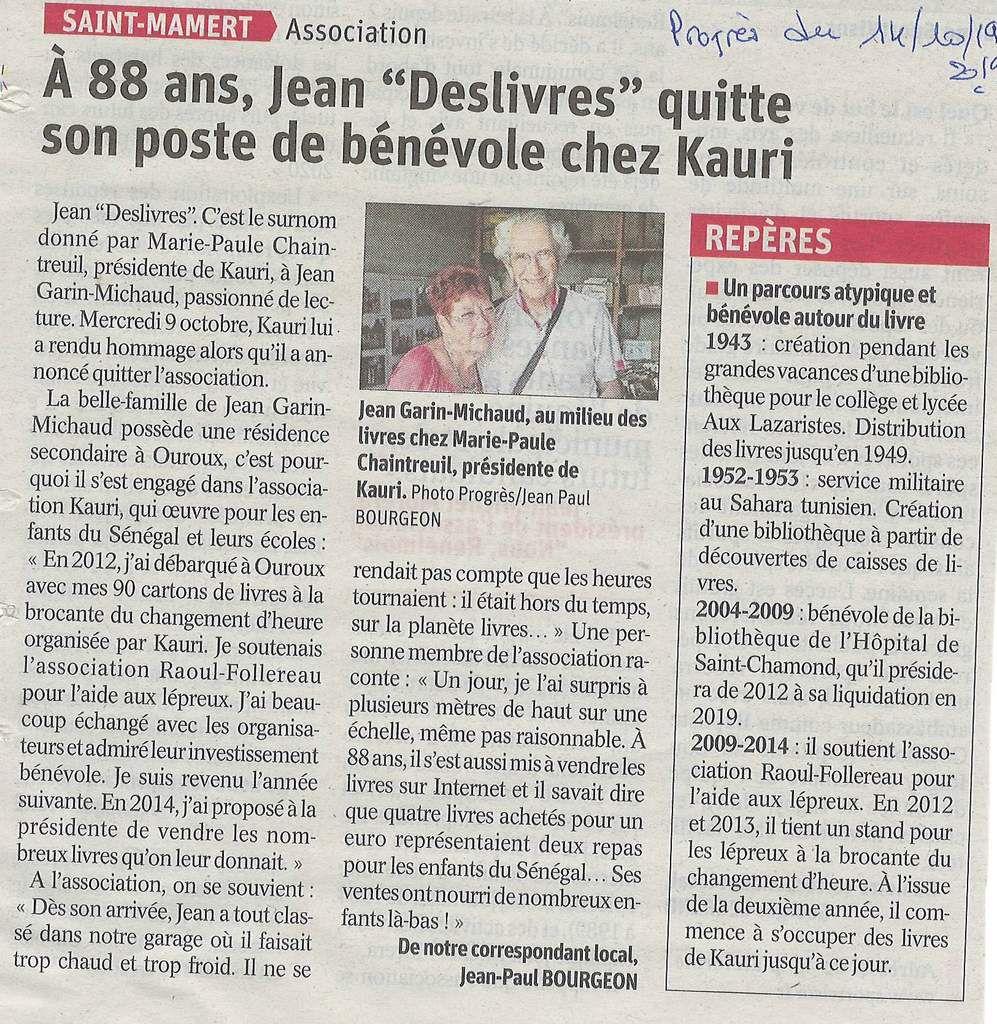 "Merci Jean ""Deslivres"" !"