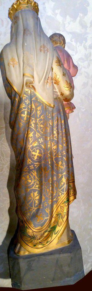 Grande en statue  la Vierge Marie Couronnée avec l'enfant Jésus en plâtre polychrome