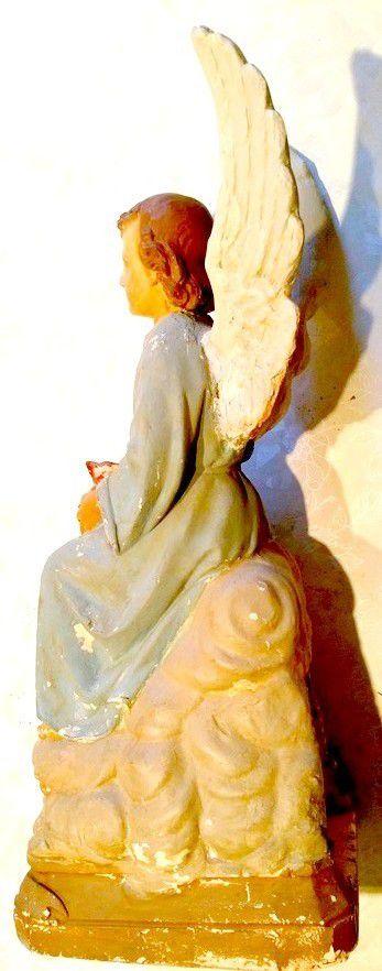 Ancienne Statue Religieuse Ange Quêteur Tronc Quête Eglise Tirelire