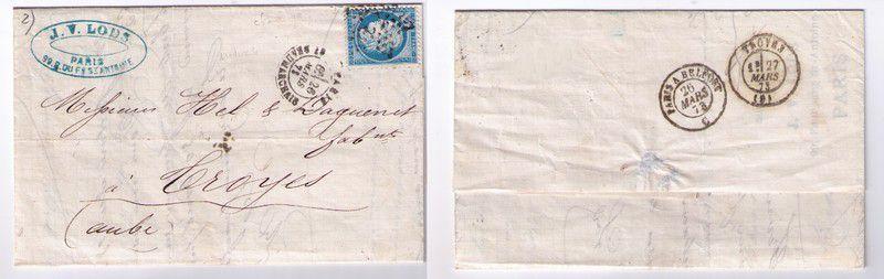Lettre XIXe siècle Timbrée avec Oblitération