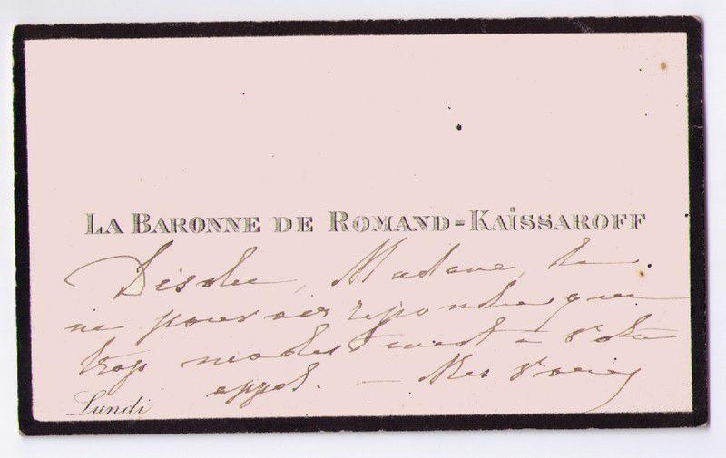 Baronne de ROMAND-KAISSAROFF