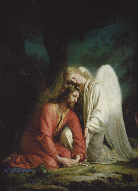 Jesus Christus und Erzengel Chamuel im Garten Gethsemani  -  Gemälde von Carl Heinrich Bloch