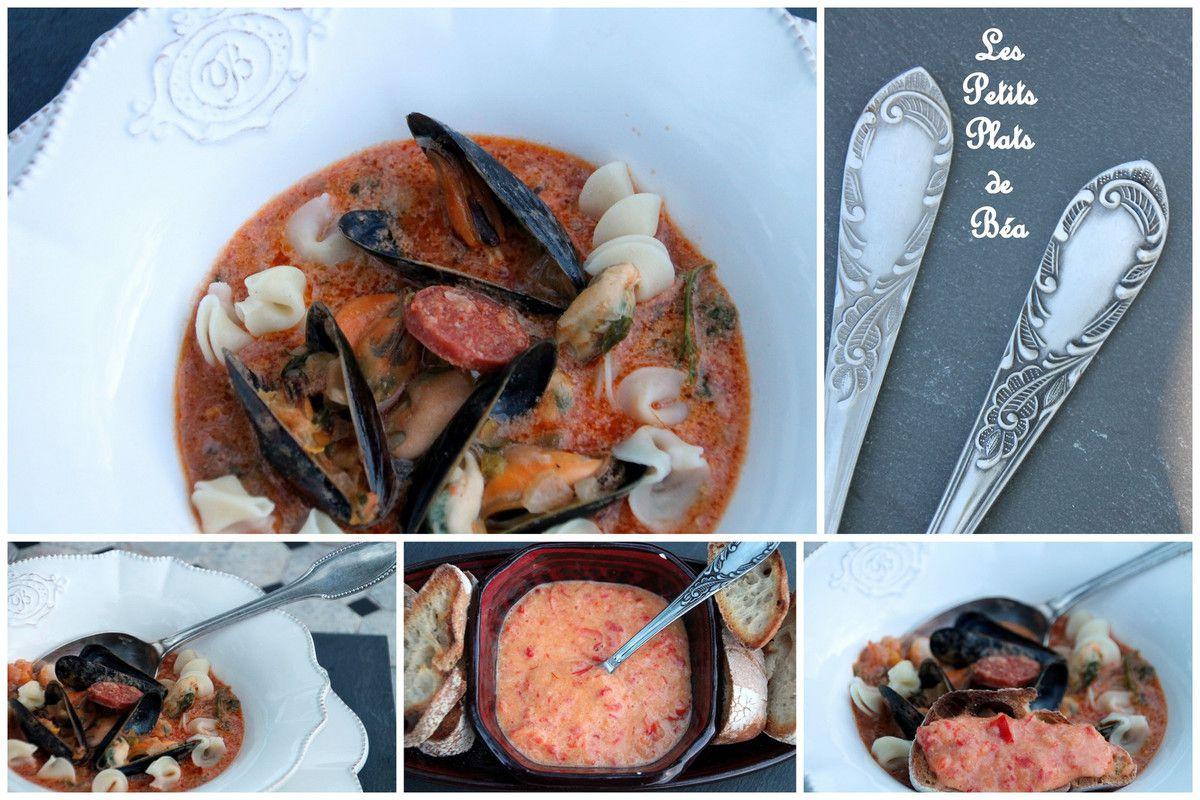 Soupe aux moules et au chorizo sauce rouille