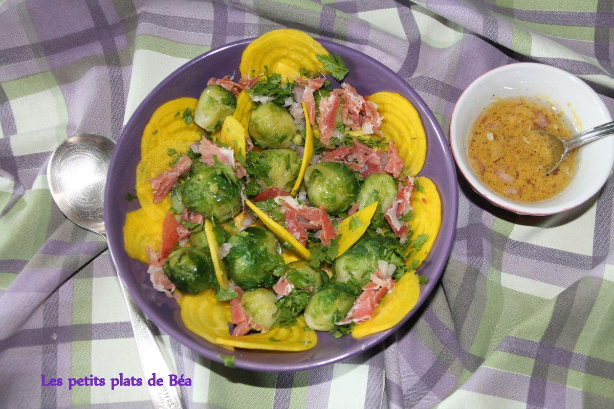 Salade aux choux de Bruxelles et à la betterave jaune