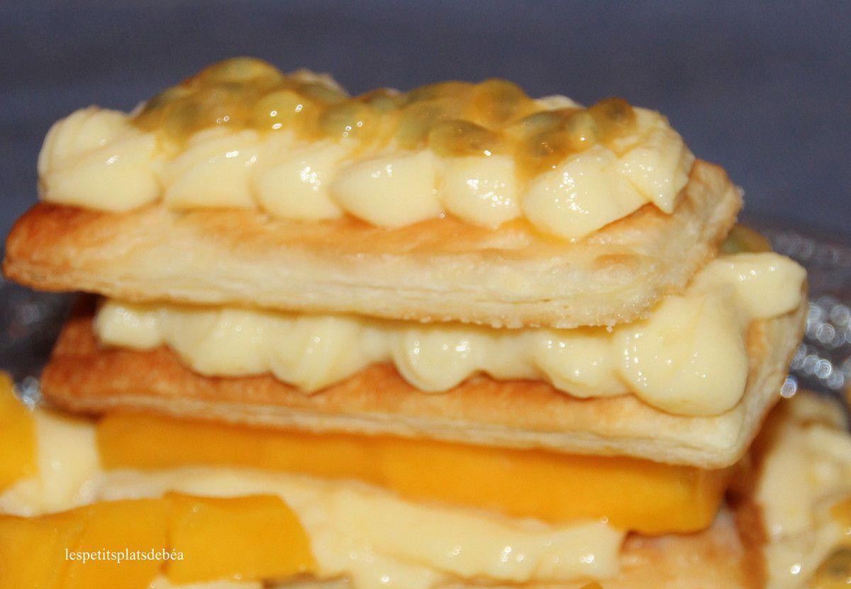 Millefeuille à la mangue, fruit de la passion et gingembre