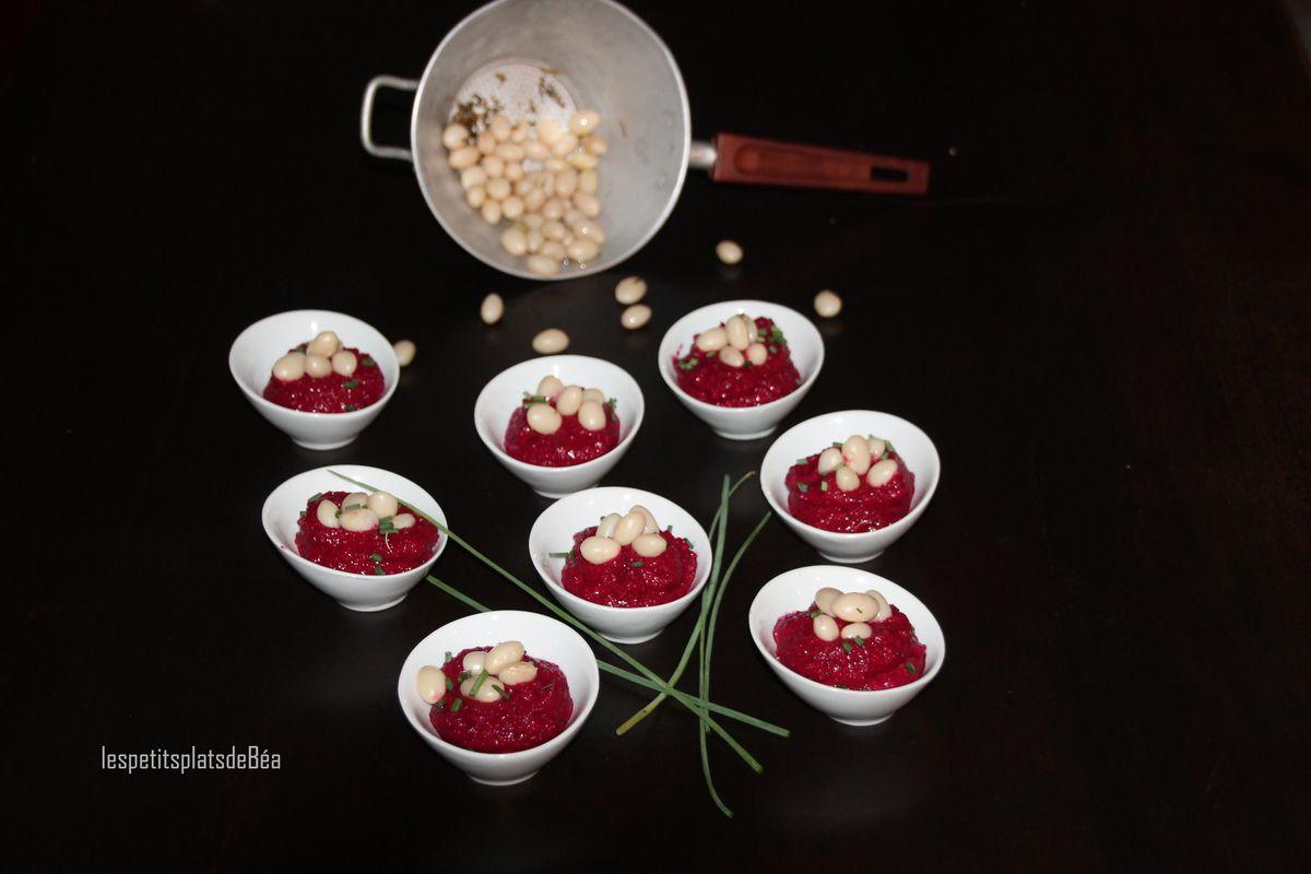 Crème de betteraves rouges et cocos de paimpol