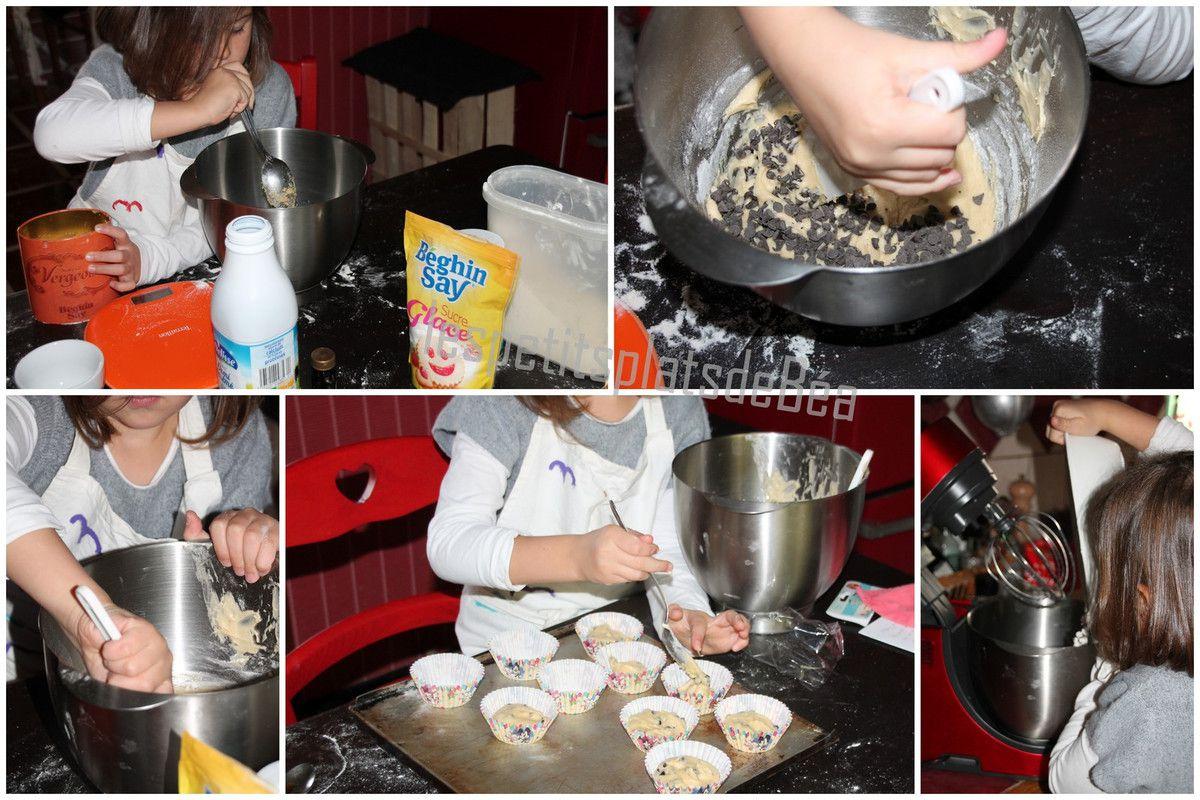 Muffins aux pépites de chocolat à 4 mains pour les 2 ans de Jules