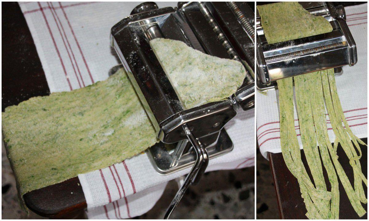 Tagliatelles aux orties à la carbonara