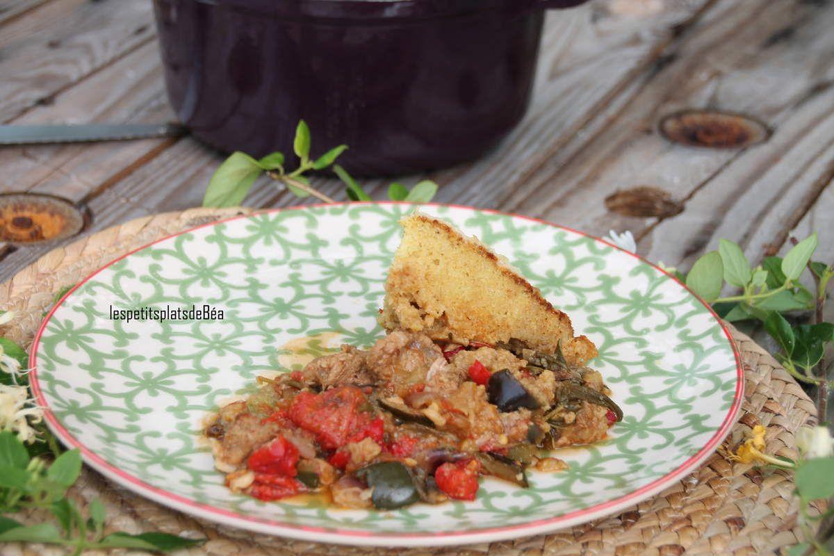 Cocotte de veau à la ratatouille et pain à la polenta