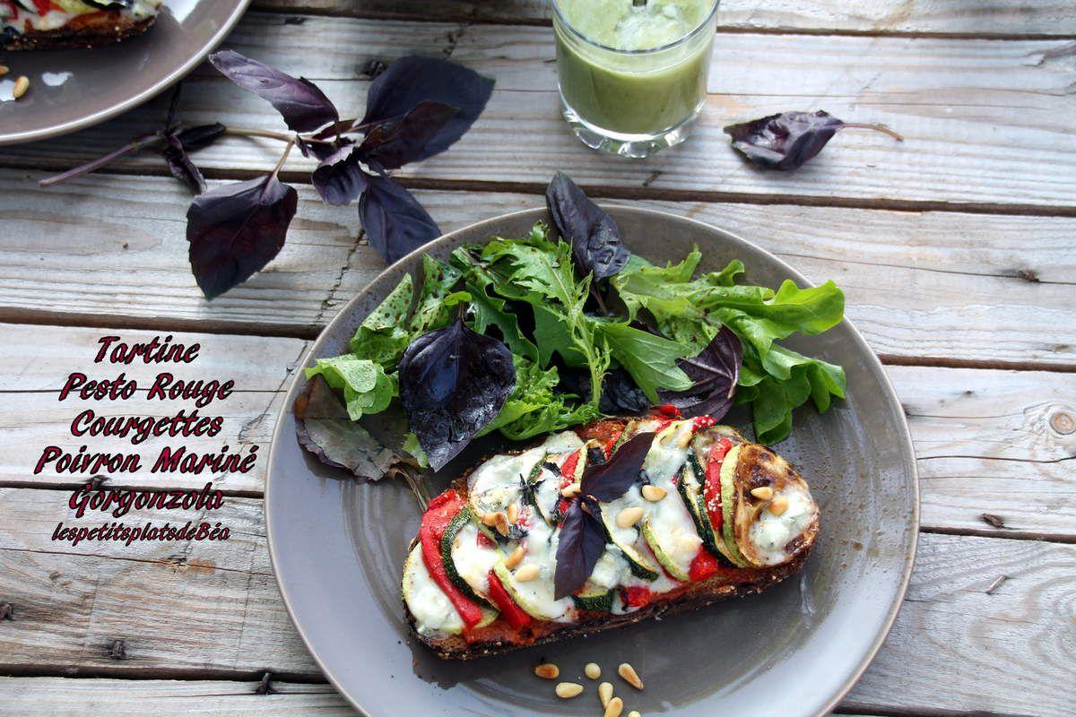 Tartine gourmande courgettes, poivrons et gorgonzola